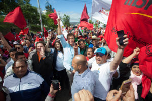 Opposition Presidential canidate Salvador Narsalla marches with protesters. According to early results he won the contested 2017 election December 2017