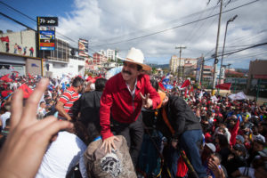 Former President and leader of the opposition Manuel Zelaya poses for a photo after giving a speech along side Narsalla in Tegucigalpa December 2017 – Photo appeared in Briarpatch magazine